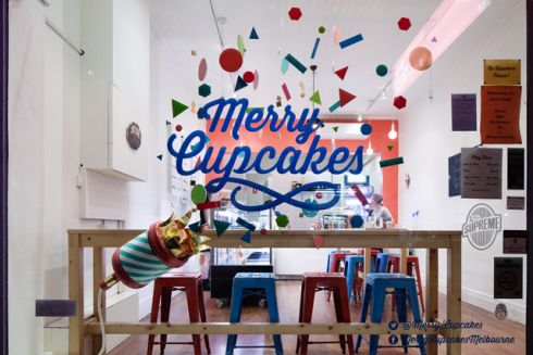 Merry Cupcakes 1st Birthday Window display by Hoopla House