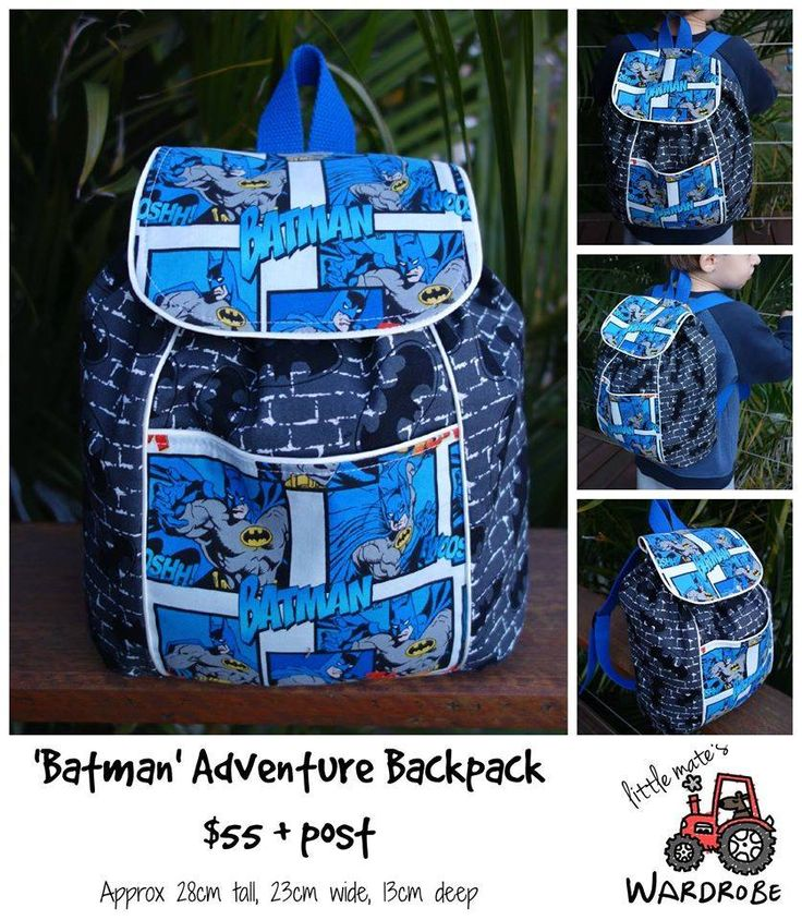 Handmade by Little Mate's Wardrobe Toddler Adventure Backpack has been handmade using Batman fabric. It is not a licensed Batman product.