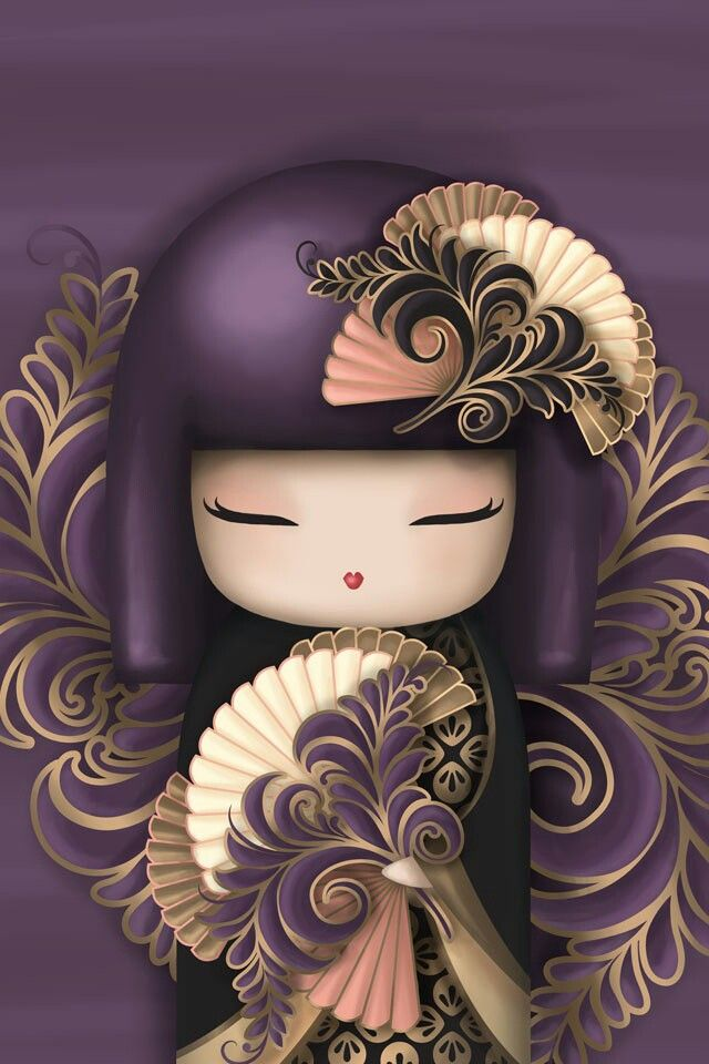 Kokeshi doll #Kokeshi #Purple #Kawaii