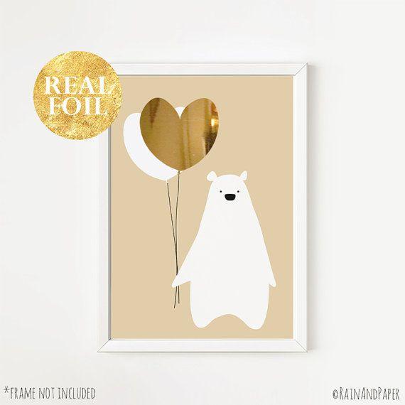 Beige Baby Nursery Art Gold Silver Rose Gold Foil Print Bear