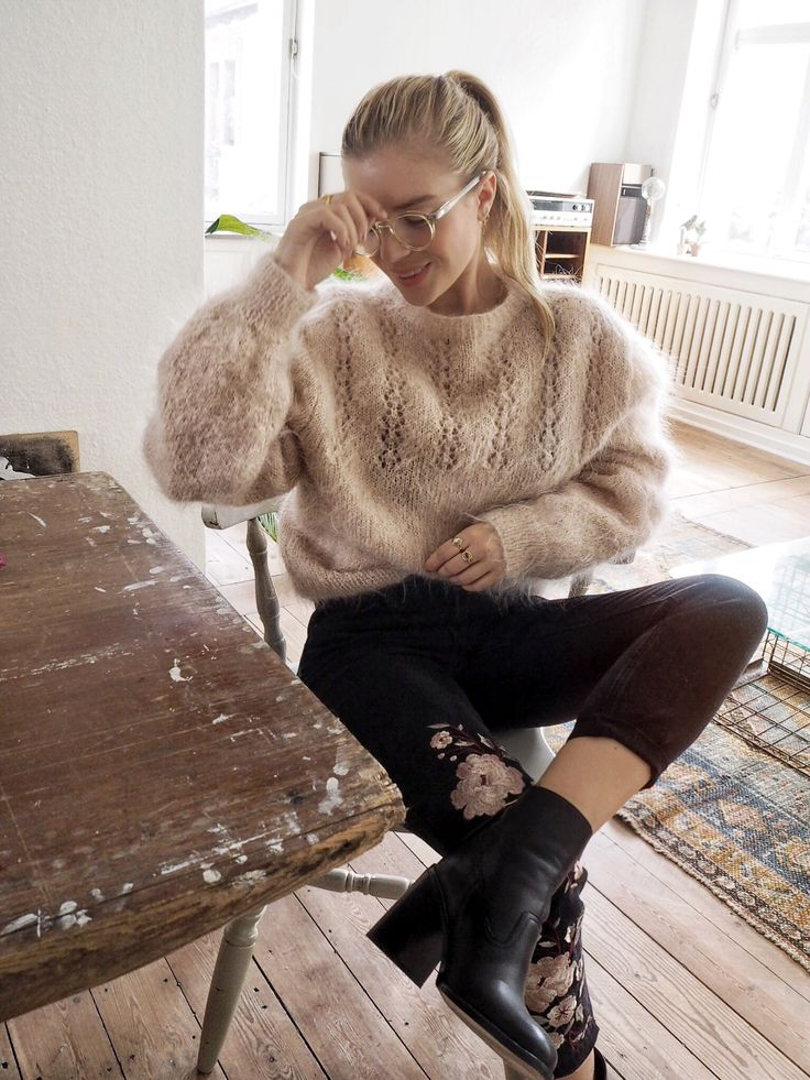 Fuzzy sweater and moto boots