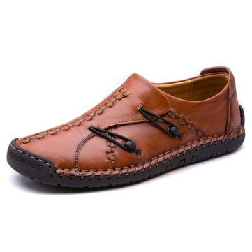 f1fa6a6cc29 Men s Hand Stitching Stylish Soft Sole Slip On Loafers Casual Leather Shoes