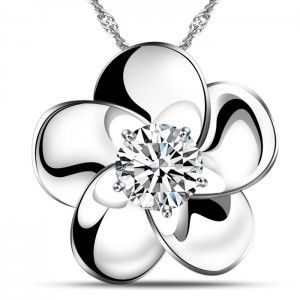 Flower Shape 925 Solid Sterling Silver Pendant White Gold Plated