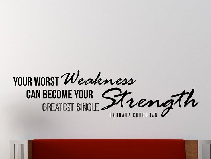"Barbara Corcoran Motivational Typography Quote Wall Decal ""Your Worst Weakness Can Become Your Greatest Single Strength"" 42x11 Inches"