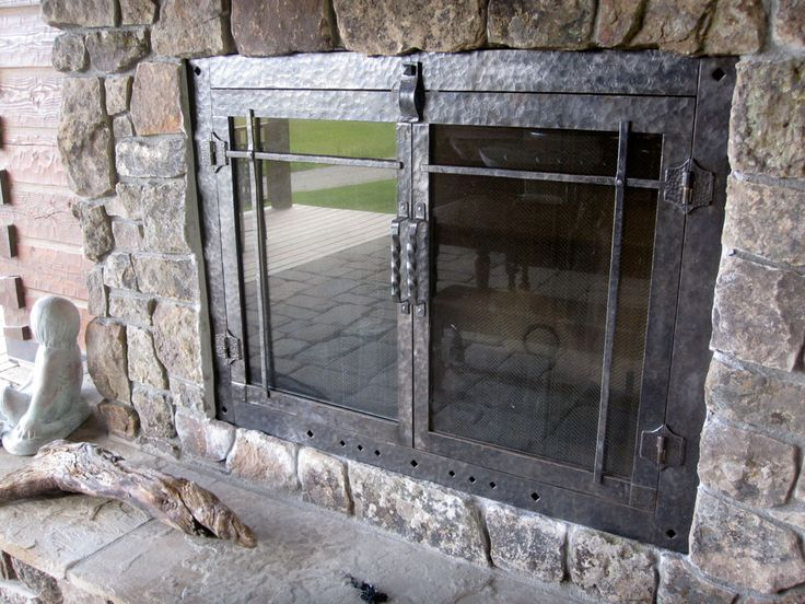 Hammered Fireplace Doors : Best images about fireplace on pinterest mantels