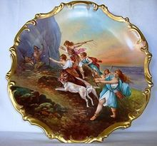 """Astonishing 15 1/2 """" Limoges Porcelain Plaque / Charger ~ Hand Painted Allegorical Scene~ Artist is depicting """"Diana And Her Nymphs"""" Hunting Bear  and Boar. ~ Signed Dubois ~ Lazeyras Rosenfeld & Lehman  early 1"""