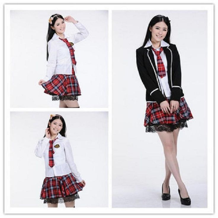 japonaise, fille uniforme, cosplay, costume, jupon robe tartan rouge noir