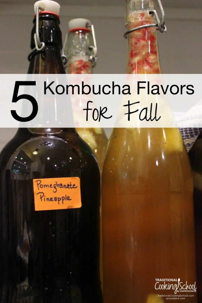 5 Kombucha Flavors for Fall   Kombucha can be expensive to purchase, but it costs just pennies to make at home! Once you get the hang of it, it's time to experiment with flavorings. Here are 5 fun spiced and fruit flavorings for Fall.   TraditionalCookingSchool.com