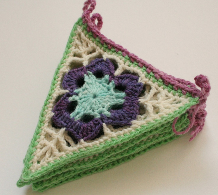 Crochet Bunting, Granny Triangle Pennants, Purple, Green and Blue. $33.00, via Etsy.