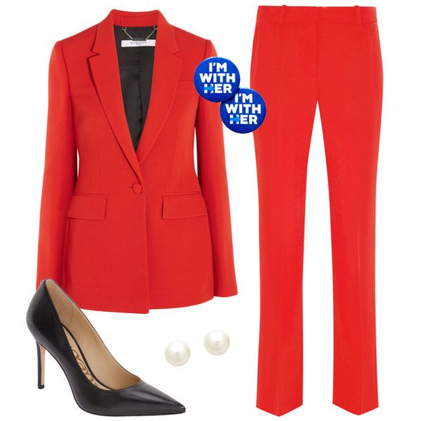 """Hillary Clinton - Whatever your political preference may be, you can't deny Hillary has shattered the glass ceiling as the first female presidential nominee. Celebrate this historic moment with a red pantsuit, pointed-toe pumps, pearl earrings and an """"I'm With Her"""" button."""