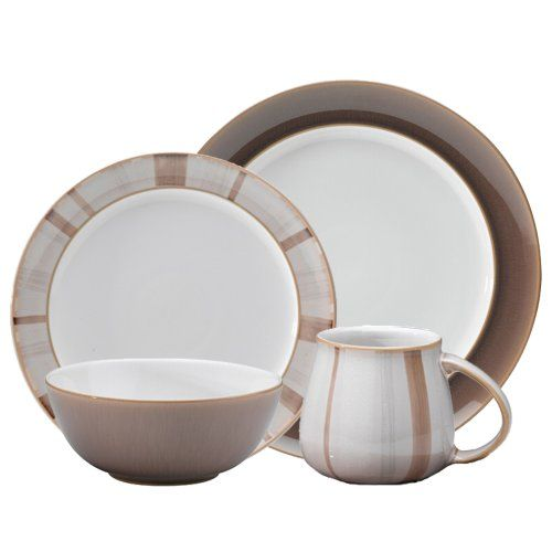 Denby 16-Piece Truffle Layers Dinner Set Set includes: Four each: Dinner Plate, Salad/Dessert Plate, Accent Plate, Large Accent Mug Each piece of pottery is painstakingly glazed by skilled craftsman Durable Stoneware Strong Durable and Chip Resistant Dishwasher, microwave, oven and freezer safe
