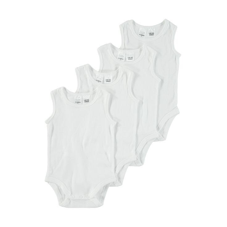 4 Pack Sleeveless Bodysuit | Kmart