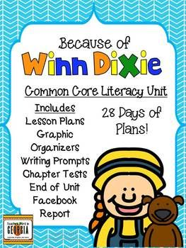 Winn Dixie Unit including all lesson plans, attachments, and chapter tests. Everything you need to start this unit!