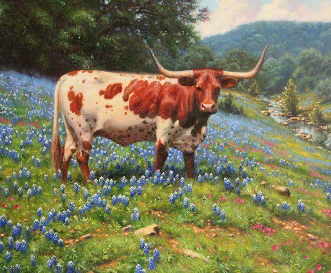 Miss Texas by Mark Keathley ~ longhorn cattle on lupine-laden field near stream