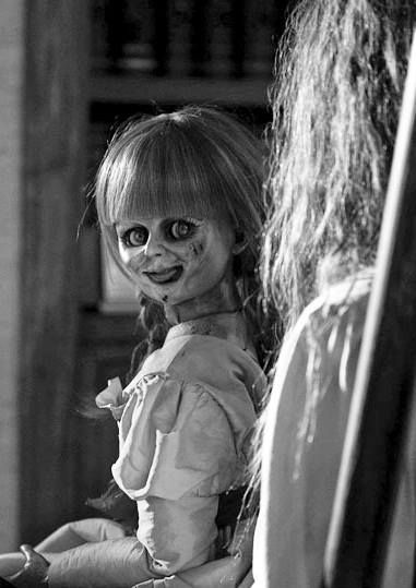 creeps!  This is the made-up Annabelle from the movie The Conjuring. The real Annabelle doll is a large Raggedy Ann Doll.