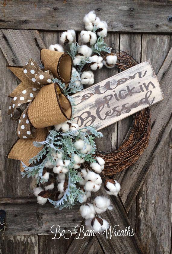 Cotton Wreath, Everyday Wreath, All Season Wreath, Door Hanging, Rustic Decor, Cotton Pickin Blessed