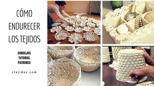 ¿Has oído de esas artesanías hechas de yute, cuerda o tiras de papel de periódico entrelazados? Es igual que los que se crean con las piezas de crochet endurecido! Colchas, alfombras, fruteros, jarrones y cuadros, lámparas y modelos de cestas