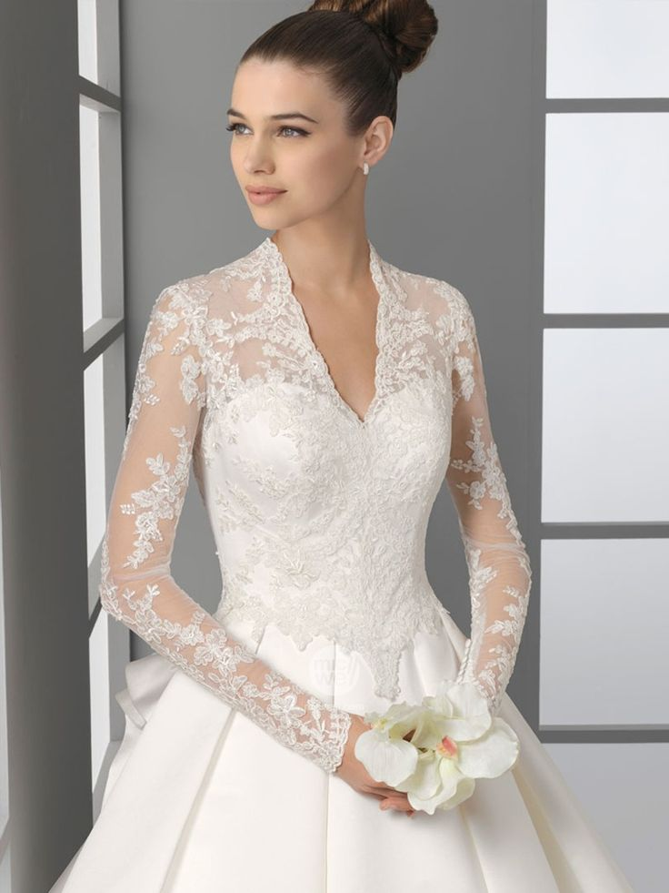 lace long sleeved wedding gown--could be lined in white or beige to make it more modest
