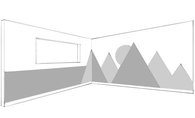 Oh Joy Nursery / Office Makeover: Das Wandbild der Berge (Emily Henderson)