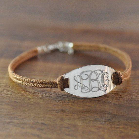 Custom vine monogram bracelet,hand stamp initial,sport cord chain,adjustable,man jewelry,Christmas on Etsy, $13.99......super cute!