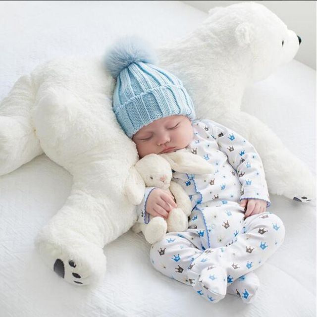 Newborn Baby Pillow Polar Bear Animal Shaped Soft Cushion Children's Room Decoration Doll Kids Plush Toys Sleep Support Headrest