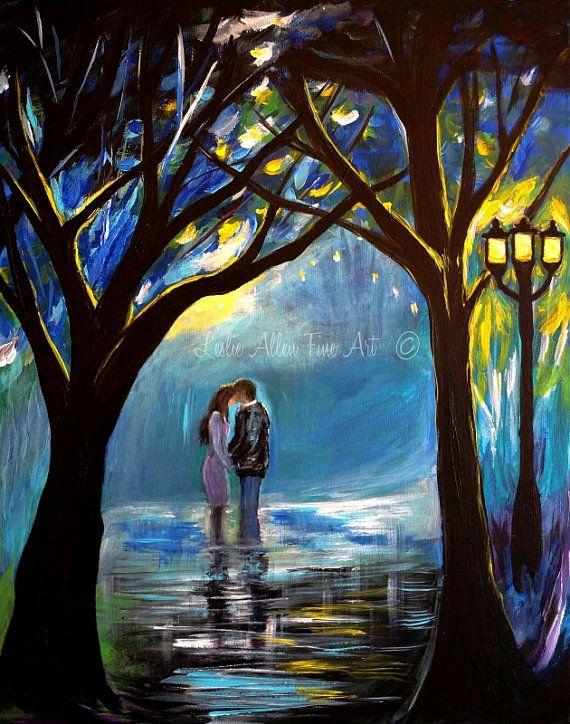 """Paar ART PRINT paar muur kunst In de stad van de romantiek van de paren Abstract kussen liefde lief koppel """"When I Fall In Love"""" Leslie Allen FineArt"""