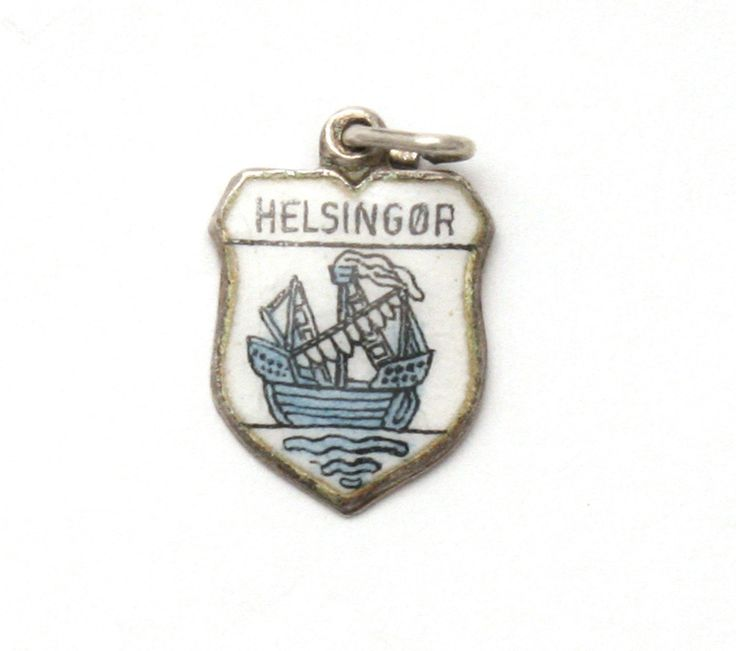 Helsingor Denmark Enamel Travel Shield 835 Silver Bracelet Charm Ship by SterlingRevival on Etsy