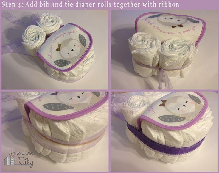 Step 4.  DIY Owl Diaper Cake Tutorial