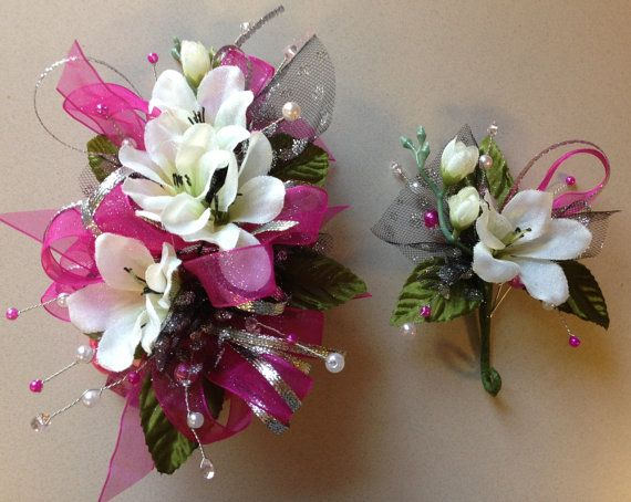 White Silk n Fuchsia Prom Corsage and Matching Boutonniere Set Homecoming & Prom Dance on Etsy, $26.95
