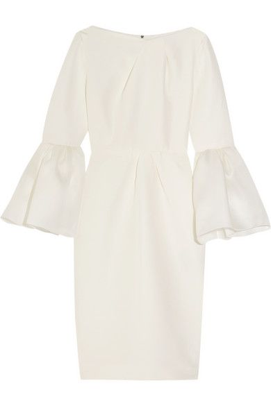 EXCLUSIVE AT NET-A-PORTER.COM. Roksanda's 'Margot' dress is a beautiful option for the modern bride. Crafted from a lustrous blend of ivory cotton and silk, it's designed with a nipped-in waist and dramatic bell sleeves in a contrasting basketweave. Complete the elegant picture with gold accessories.