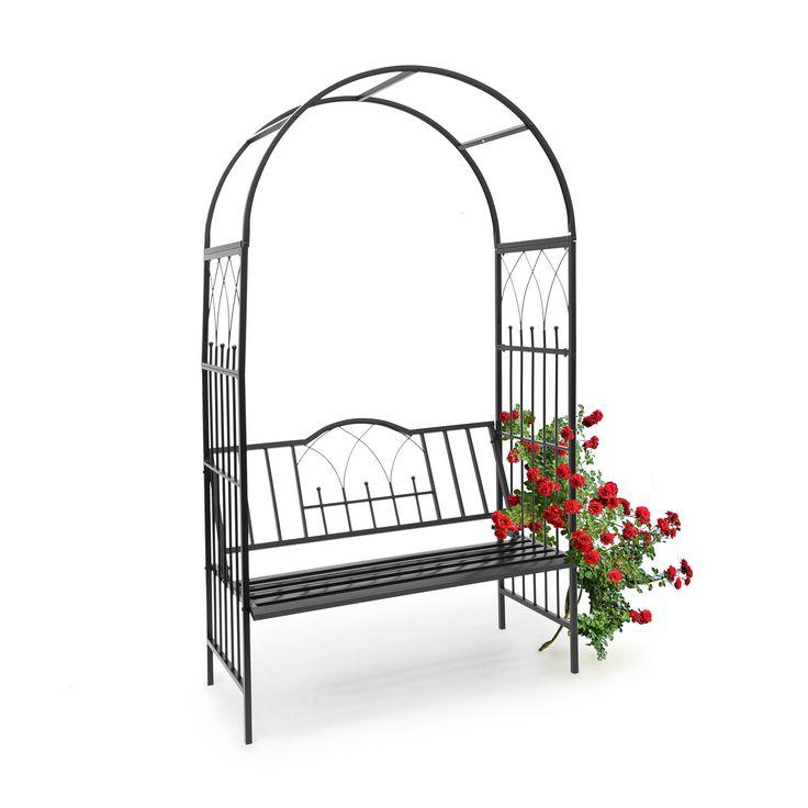 Rosenbogen mit Gartenbank