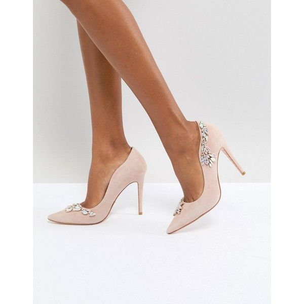 Dune London Bridal Bestowed Pink Suede Court Shoe with Irredesent... ($155) ❤ liked on Polyvore featuring shoes, pumps, pink, suede pointed toe pumps, pink suede pumps, high heel pumps, pink pointed toe pumps and bridal shoes
