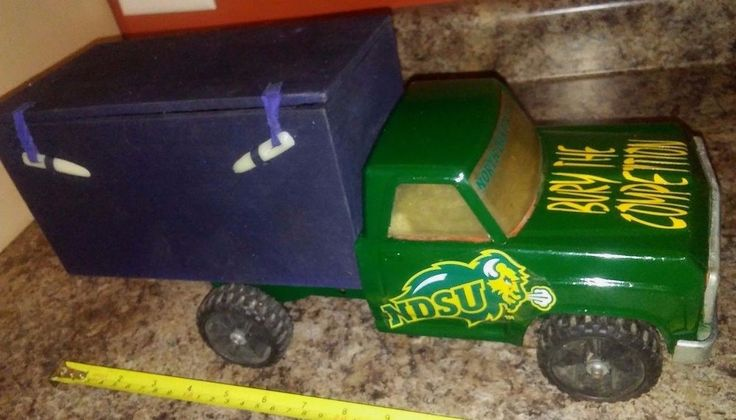 NCAA NDSU Bison Football TONKA Dump Truck with Coffin Vault steel Special Orders #TONKA #NorthDakotaStateBison
