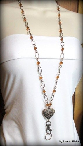 Lanyard Necklace with Heart and Amber Beads in Antique Coppper