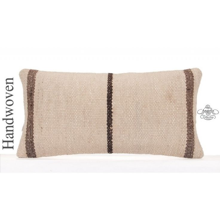 """Modern White Kilim Pillowcase Hand Woven 12x24"""" Striped Turkish Kelim Rug Cushion Sham Lumbar Home Decor Accent Eclectic Throw Pillow Cover"""