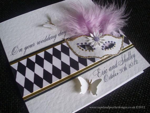 Arlequín máscaras de boda - Felicitaciones--Negro, blanco, oro y púrpura - personalizado