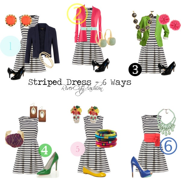 Striped Dress - 6 Ways, created by rivercityfashion on Polyvore
