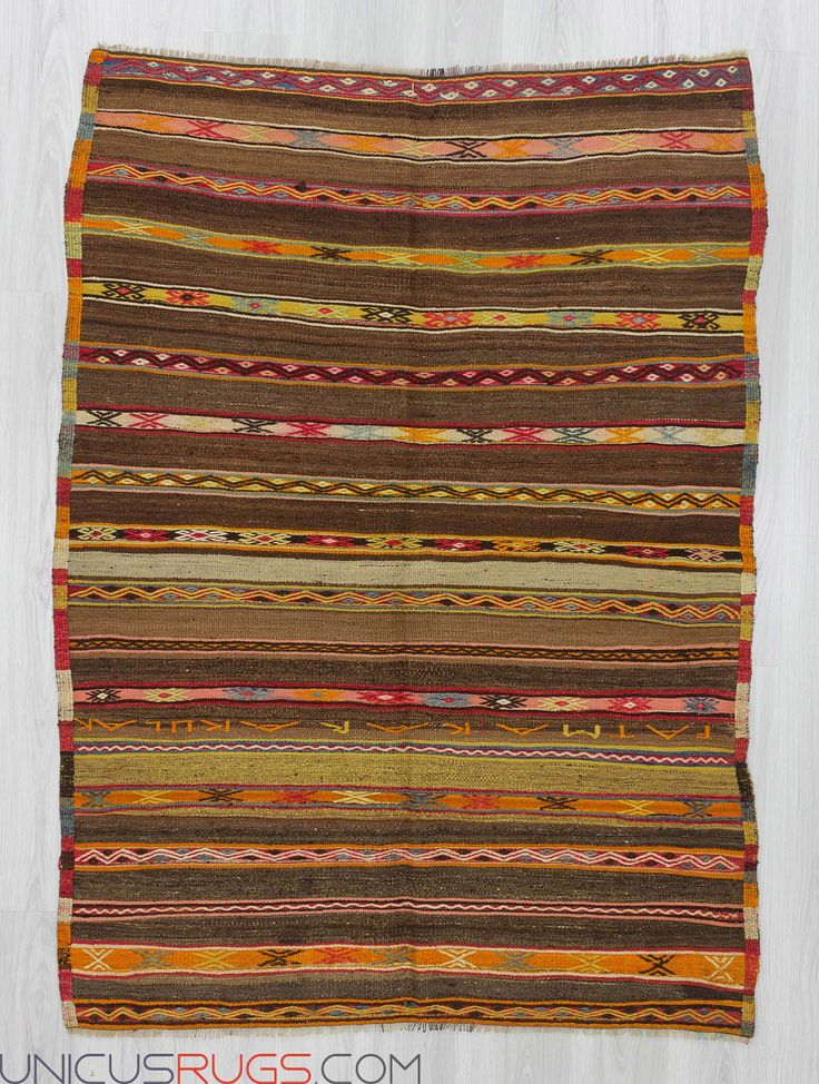 """Handwoven striped kilim rug from Fethiye region of Turkey.In good condition.Approximately 50-60 years old Width: 4' 6"""" - Length: 6' 2"""" Striped Kilims"""
