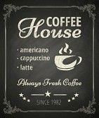 kawa : Plakat Coffee na tablicy. Stylizowany rysunek kredą