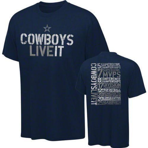 Dallas Cowboys Navy Distressed Live It History Stats T-Shirt by NFL. $20.99. Short Sleeve T-Shirt. Rib knit collar. Vibrant screen print graphics. Machine washable. 100% Cotton , Officially licensed. The Dallas Cowboys are as engrained in American culture as fireworks on the Fourth of July. Show off your team spirit with this Dallas Cowboys Navy Live It Stats T-Shirt. This Dallas Cowboys t-shirt features vibrant screen print graphics and bold team colors. Saddle up with this on...