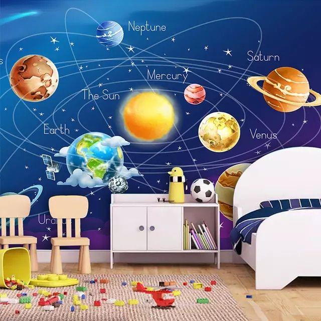 Papel Pintado Mural Personalizado 3d Dibujos Animados Planeta Sistema Solar F Pinturas Para Dormitorios Mural Personalizado Fondo De Pantalla Del Sistema Solar