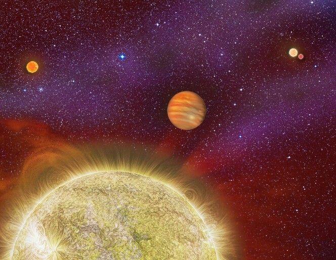 Rappresentazione artistica del sistema ARI 30. La stella primaria è una nana rossa. Il sistema, denominato 30 Ari, si trova a 136 anni luce di distanza nella costellazione dell'Ariete. Il pianeta del sistema è un gigante gassoso 10 volte la massa di Giove, che orbita intorno alla sua stella primaria, una piccola nana rossa, ogni 335 giorni, quasi un anno terrestre. Circa il 4% delle stelle simili al nostro sole si trovano in sistemi quadrupli.