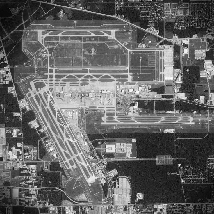 Satellite art print of George Bush Intercontinental Airport located in Houston, Texas.