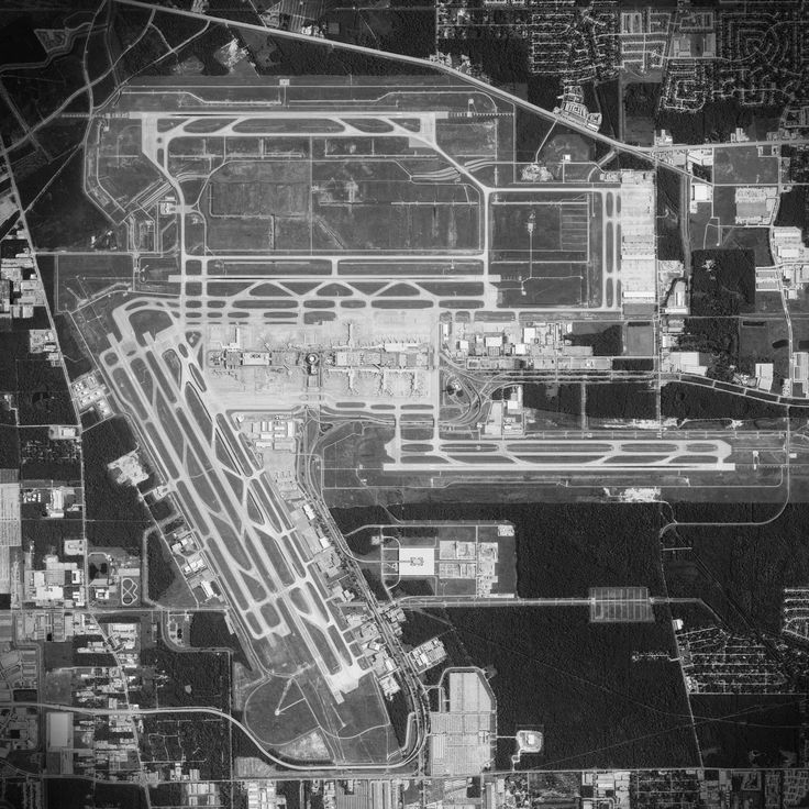 Satellite art print of George Bush Intercontinental Airport located in Houston, Texas.