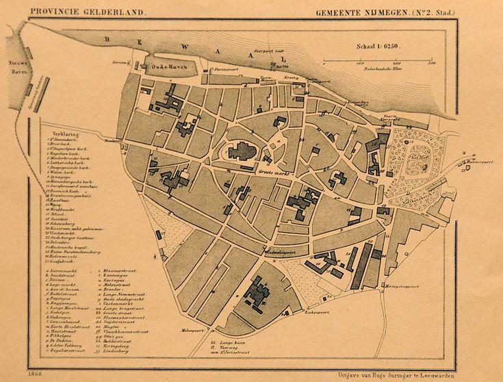 plattegrond Nijmegen met stadspoorten
