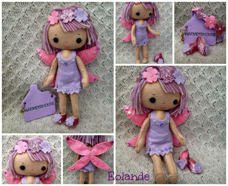 Handmade Felt Fairy Collectable Doll - Eolande The Purple Fairy -  Ready To Buy by HarveyshouseCrafts on Etsy