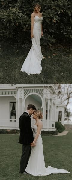Spaghetti Straps V-neck Lace Top Cheap Wedding Dresses With Train, WD0437 Spaghetti Straps V-neck Lace Top Cheap Wedding Dresses With Train, WD0437