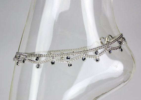 Silver Diamante Stone Gem Ankle Chain Anklet Indian Bollywood Grecian Bohemian Payal * Single or Pair * on Etsy, £4.19