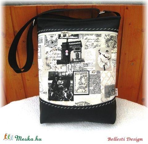 Párizs képekben - textilbőr oldaltáska romantikusoknak (BellestiDesign) - Meska.hu   #handmade #női #egyedi #divat #táska #design #bellestidesign #woman #fashion #bag #bags #paris #párizs #vintage #black
