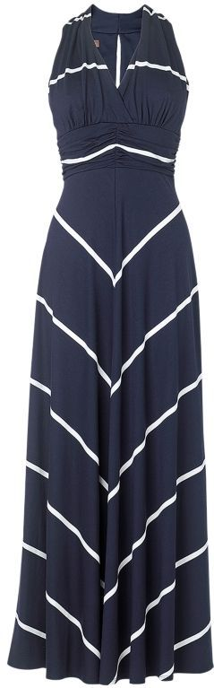 Navy Blue V Neck Cutout Back Chevron Stripe Maxi Dress